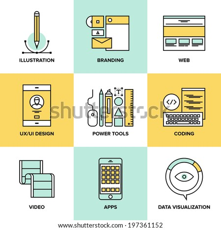 Flat line icons set of website user interface design, web page coding and  programming, mobile apps development, branding and data visualization. Flat design style modern vector illustration concept. - stock vector