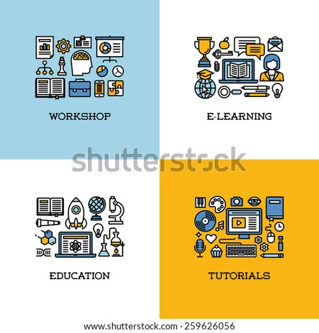 Flat line icons set of workshop, e-learning, education, tutorials. Creative design elements for websites, mobile apps and printed materials - stock vector