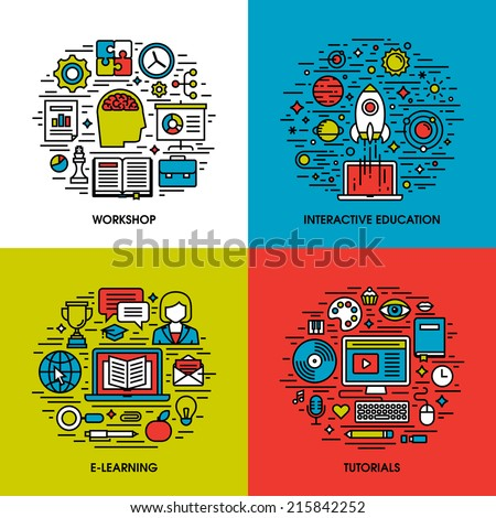 Flat line icons set of workshop, interactive education, e-learning, tutorials. Creative design elements for websites, mobile apps and printed materials - stock vector