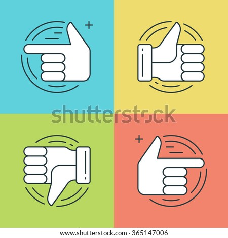 Flat line icons set. Thin linear stroke vector icons Hands, Thumbs up or like icon, Finger pointing social media symbols. Website graphics, Mobile Apps, Infographics design. Outline pictogram pack. - stock vector