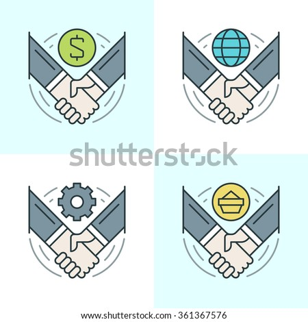 Flat line icons set. Thin linear stroke vector icons Handshake, Partnership, Deal Agreement, Successful hands concept. For website graphics, Mobile Apps, Infographics design. Outline pictogram pack. - stock vector
