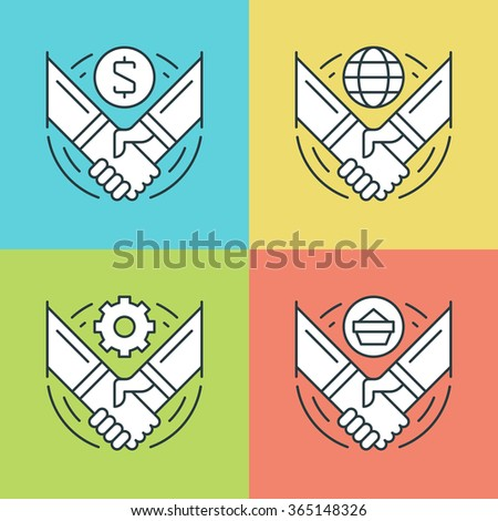 Flat line icons set. Thin linear stroke vector icons Handshake, Partnership, Deal Agreement, Successful hands symbols. For website graphics, Mobile Apps, Infographics design. Outline pictogram pack. - stock vector