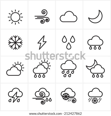 Flat Line Icons Weather Icons Vector Illustration - stock vector
