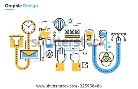 Flat line illustration of graphic design process, creative workflow, stationary design, logo design, branding, packaging design, corporate identity. Concept for web banners and printed materials. - stock vector
