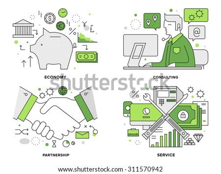 Flat line illustration set of corporate banking services, professional financial consultation, business deal agreement for company partners. Modern design vector concept, isolated on white background. - stock vector