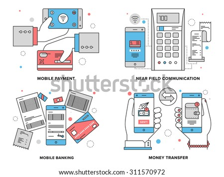 Flat line illustration set of mobile payment process, wireless money transfer via near field communication, online banking on smartphone.  Modern design vector concept, isolated on white background. - stock vector
