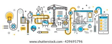 Flat line vector design illustration concept plan of mobile application  development process, app design, programming, coding, building and debugging for  website banner and landing page, infographics - stock vector