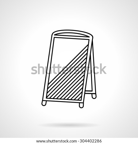 Flat line vector icon for blank sandwich board. Sidewalk advert elements, promotion, cafe menu. Design element for business and website. Element for the logo - stock vector