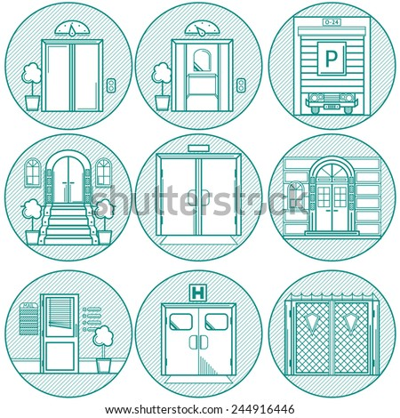 Flat line vector  icons for door. Monochrome flat line round icons vector collection of different types entrance doors on white background. - stock vector