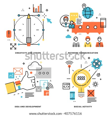 Flat Line Vector Set. Creativity and Vision, Idea and Development, Freethinking, Social Activity, Network Communication Concepts - stock vector