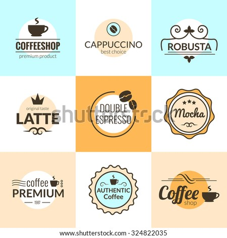 flat line vintage coffee labels logo stock vector