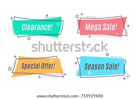Flat linear promotion ribbon banner, scroll, price tag, sticker, badge, poster. Vector illustration