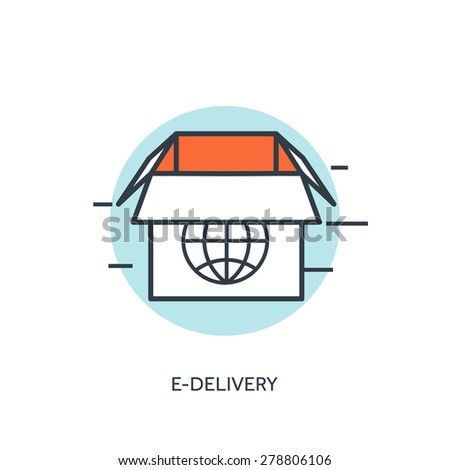 Flat lined box. Web delivery. - stock vector
