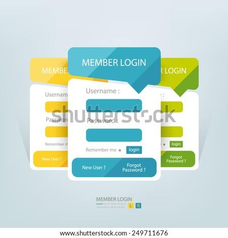 Flat login member form. - stock vector