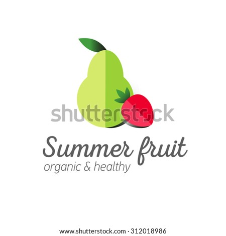 Flat logo or fruit symbol. Typography. Icon healthy diet. Stewed fruit - stock vector