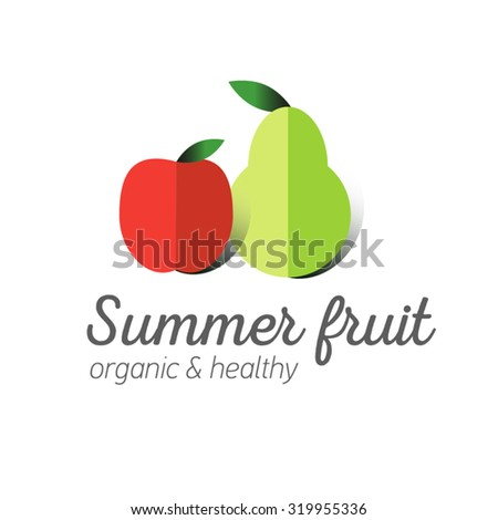 Flat logo or fruit symbol. Typography. Icon healthy diet. Stewed fruit. Red an apple, green pear. - stock vector