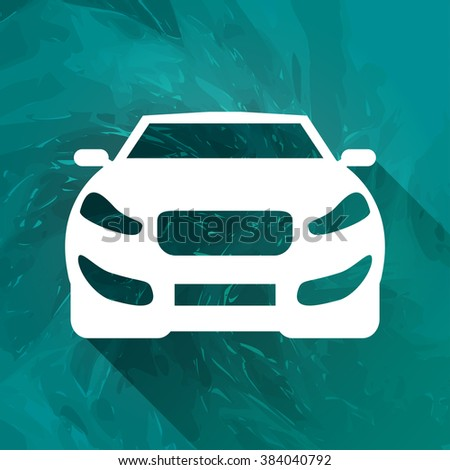 Flat long shadow Car icon, vector illustration, background