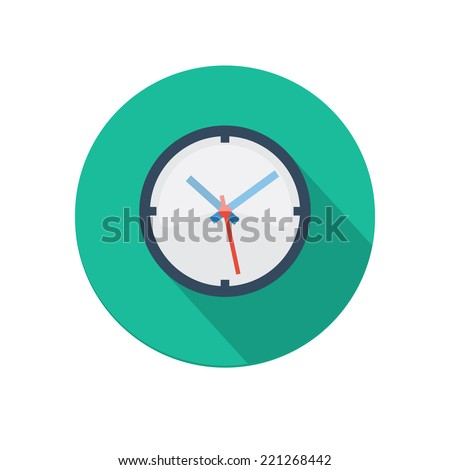 Flat long shadow clock icon isolated on white background - stock vector