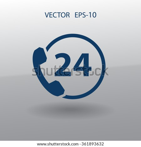 Flat long shadow 24h support icon, vector illustration - stock vector