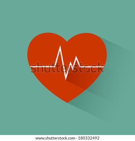 Flat long shadow heart beat icon - stock vector