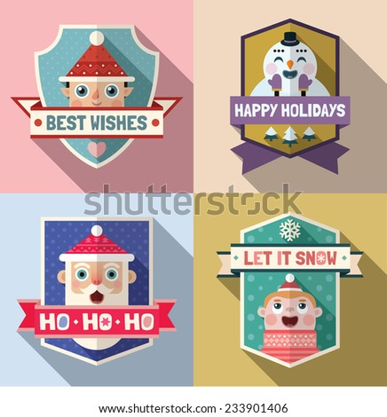 Flat long shadow holiday signs with elf, snowman, Santa Claus and happy boy. Vector set. - stock vector