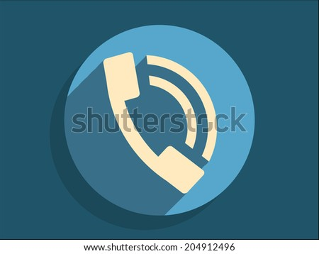 Flat long shadow icon of a phone  - stock vector