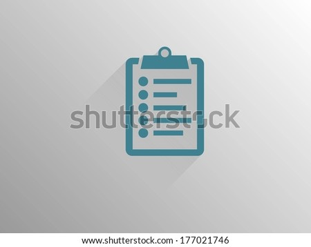 Flat long shadow icon of clipboard - stock vector