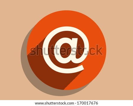 Flat long shadow icon of email - stock vector