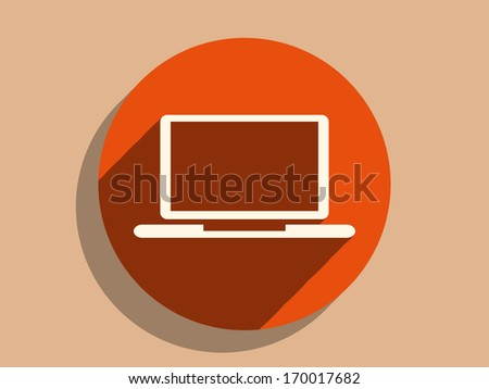 Flat long shadow icon of laptop - stock vector