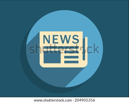 Flat long shadow icon of news - stock vector