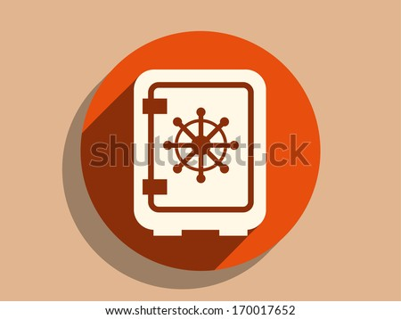 Flat long shadow icon of safe - stock vector