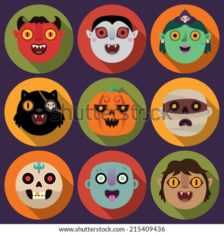 Flat long shadow round icons with devil, vampire, witch, black cat, pumpkin, mummy, skull, zombie and werewolf. Vector set. - stock vector