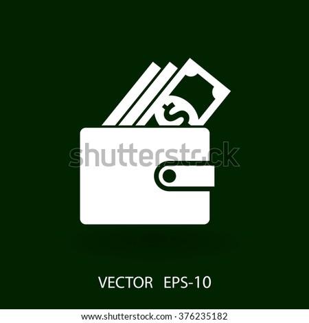 Flat long shadow Wallet icon, vector illustration - stock vector