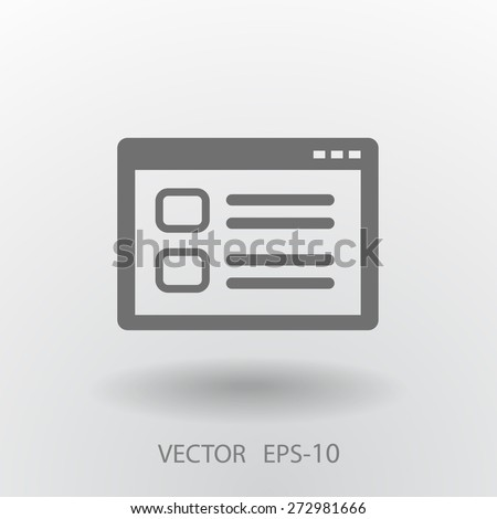 Flat long shadow Web window icon, vector illustration - stock vector