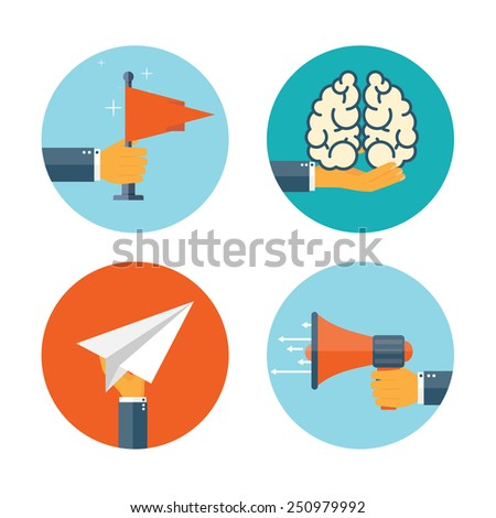Flat loudspeaker icon. Administrative management concept. Business aims and solutions. Teamwork and brainstorm. - stock vector