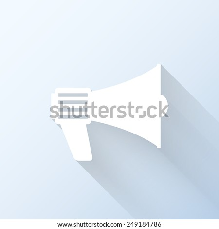Flat loudspeaker icon with long shadow. Vector illustration - stock vector