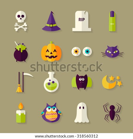 Flat Magic Halloween Witch Objects Set with Shadow. Flat Style Vector Illustrations. Autumn Halloween Party Holiday. Tricks and Treats Set. Collection of Objects over Beige Background - stock vector