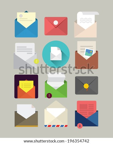 Flat mail icons - stock vector