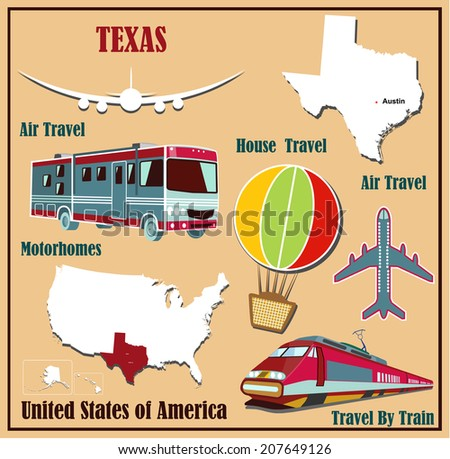 Flat map of Texas in the U.S. for air travel by car and train. Vector illustration - stock vector