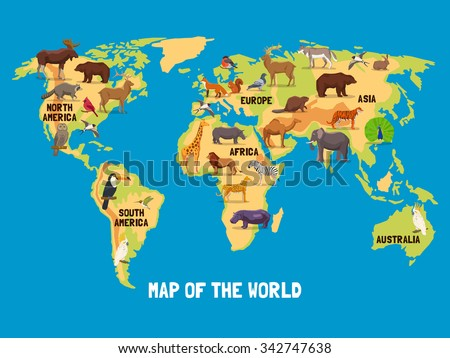 Flat map world animals living different stock vector 342747638 flat map of world with animals living in different parts of continents vector illustration gumiabroncs Image collections