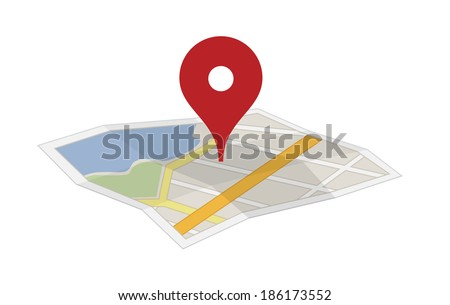 Flat Map with a pin - stock vector