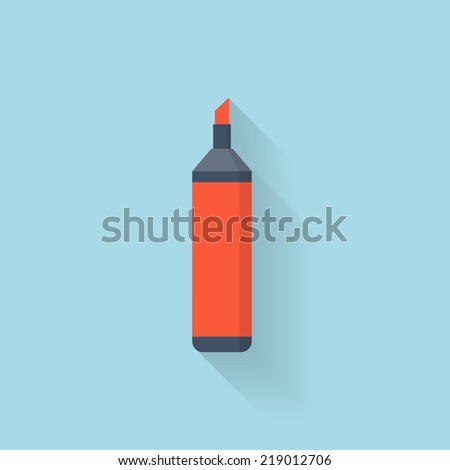 Flat marker pen icon - stock vector