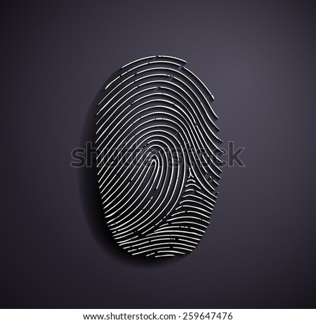 Flat metallic logo fingerprint. Vector image.