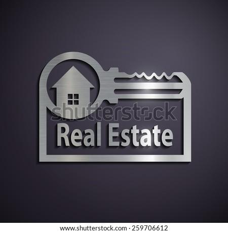 Flat metallic logo real estate. Vector image. - stock vector