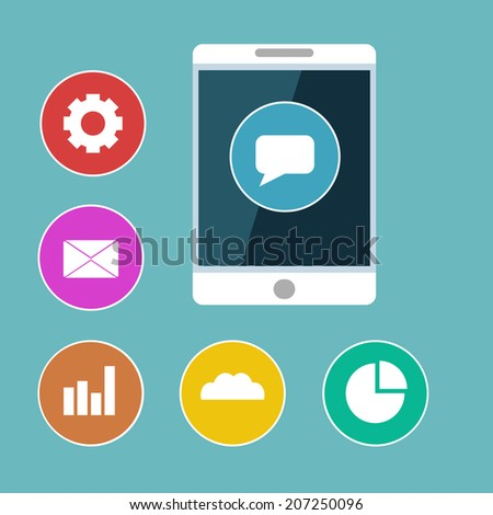 Flat mobile phone illustration with colorful icons - stock vector