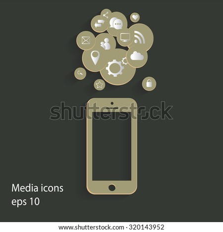 Flat mobile phone vector with social media icons green, eps 10