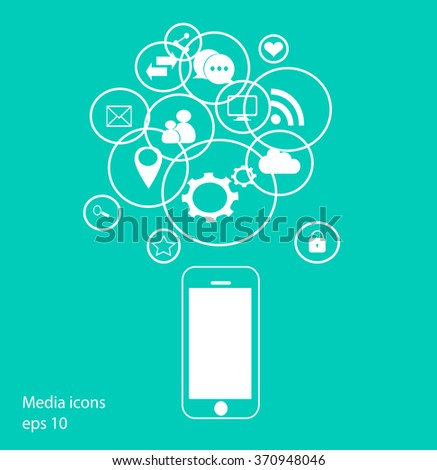 Flat mobile phone vector with social media icons neon, eps 10