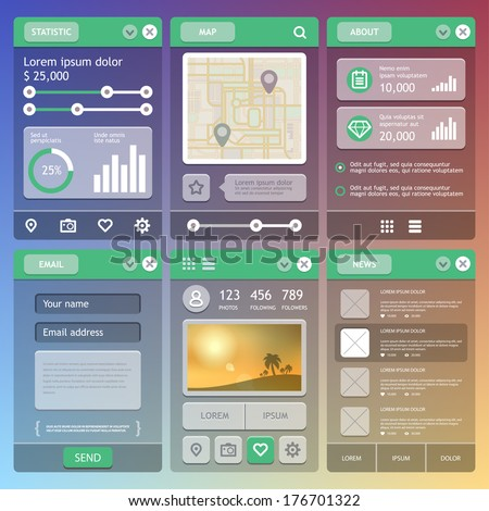 Flat Mobile UI Design. User Interface elements. Eps 10 - stock vector