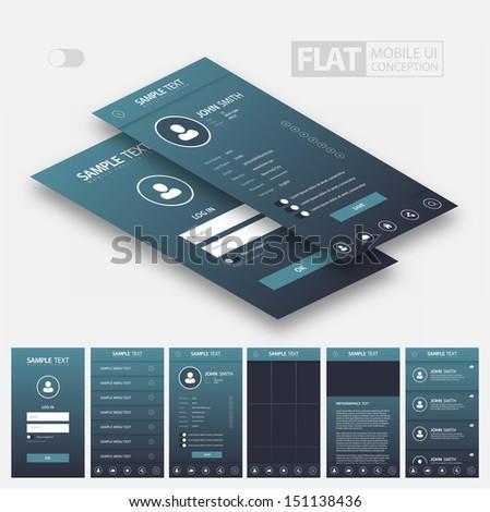 Flat Mobile Web UI Concept / EPS10 Vector Illustration / - stock vector