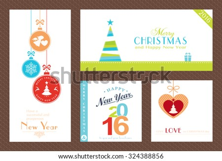 Flat, modern Christmas and Happy New Year backgrounds isolated on white with baubles, Christmas trees and sayings for the festive season to come. - stock vector